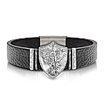 The Triumph Of St. Michael Stainless Steel Leather Bracelet