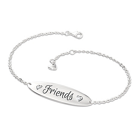 Forever Friends Diamond Sterling Silver-Plated Bracelet