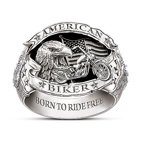 American Biker Men's Sterling Silver-Plated Ring