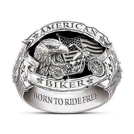 American Biker Men's Sterling Silver-Plated Ring