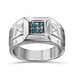 Strength Of Steel Men's Blue Diamond Ring