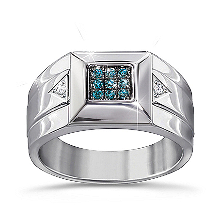 Strength Of Steel Men's Blue Diamond Ring