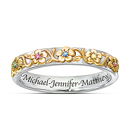 Family Grows With Love Personalized Sterling Silver Birthstone Ring – Personalized Jewelry