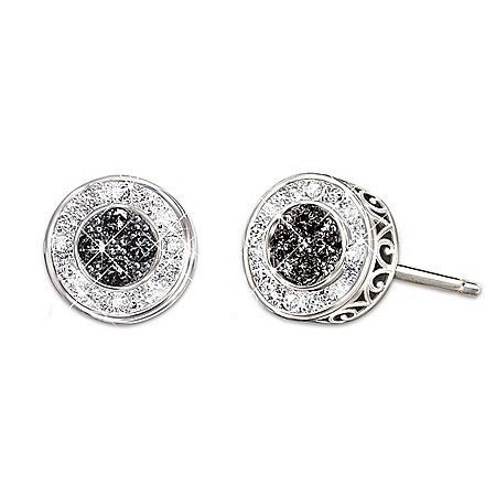 All That Glamour Sterling Silver Women's Fashion Diamond Earrings