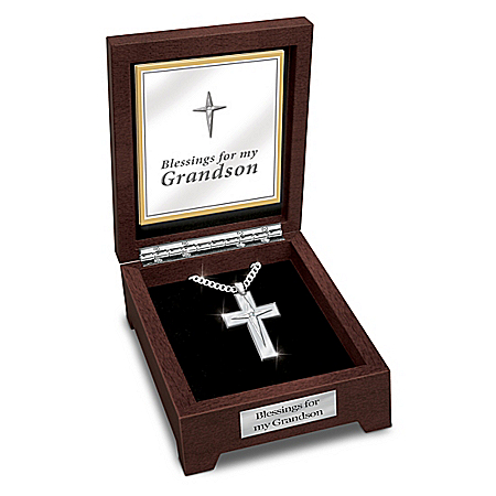 Blessed Grandson Stainless Steel Religious Cross Pendant Necklace with Valet Box