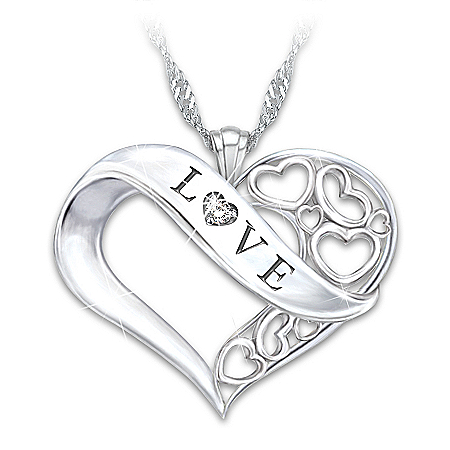 Love Diamond Sterling Silver Heart Pendant Necklace