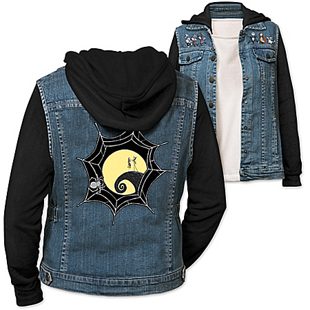 Disney Tim Burton's The Nightmare Before Christmas Women's Denim Vested Hoodie