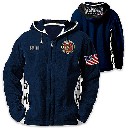 USMC Semper Fi Personalized Men's Fashionable Hooded Fleece Jacket