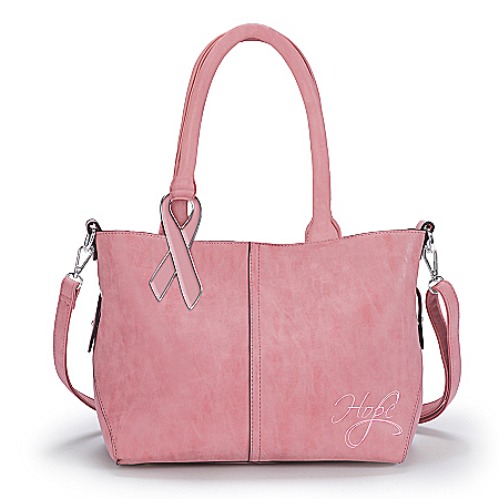 Breast Cancer Awareness Women's Pink Faux Leather Handbag with Removable Pouch