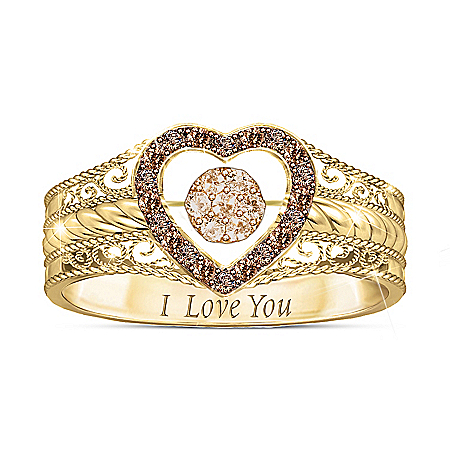 Love Bubbles Over Champagne Diamond Ring With Custom Movement Setting