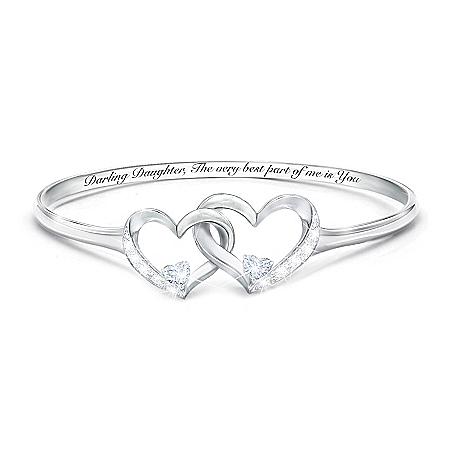 Best Part Of Me Women's Heart-Shaped Diamond And White Topaz Bracelet
