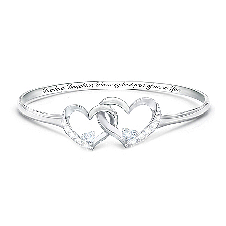 Best Part Of Me Women's Heart-Shaped Diamond And White Topaz Bracelet