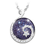 Granddaughter Reach For The Stars Sterling Silver Cabochon Stone Pendant Necklace