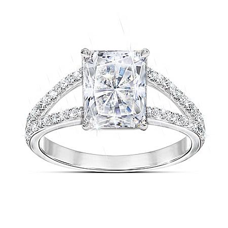 Radiant Star Diamonesk Sterling Silver Women's Ring