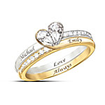 Love Always Personalized Genuine White Topaz Rings That Form A Perfect Heart