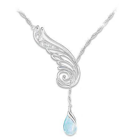 Wing Of Serenity Inspirational Diamond And Topaz Pendant Necklace
