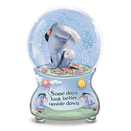Disney Some Days Look Better Upside Down Eeyore Musical Glitter Globe