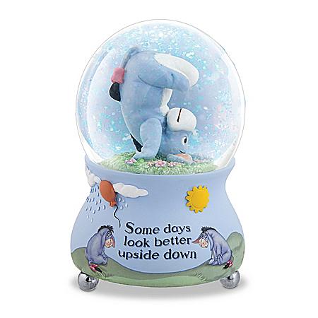 Disney Some Days Look Better Upside Down Eeyore Musical Glitter Globe