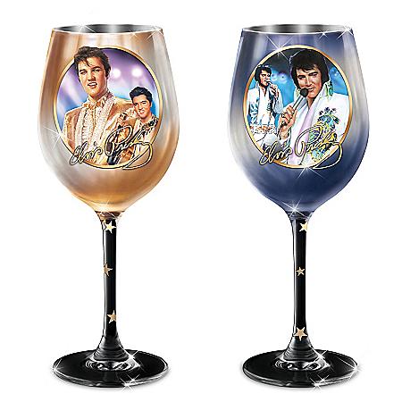 Star Of The Stage Elvis Presley Wine Glass Set