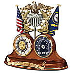 Navy Values Personalized Wooden Thermometer Desk Clock