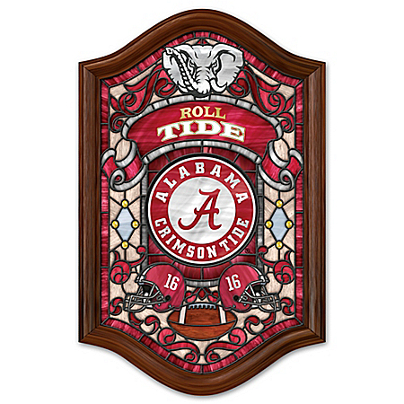 Officially Licensed University of Alabama Stained Glass Wall Decor Lights Up