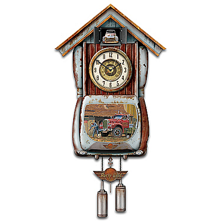 Rusty Gold Pickup Truck Cuckoo Clock