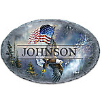 On Majestic Wings Bald Eagle Personalized Outdoor Welcome Sign