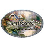 Thomas Kinkade Welcome All Who Enter Personalized Welcome Sign