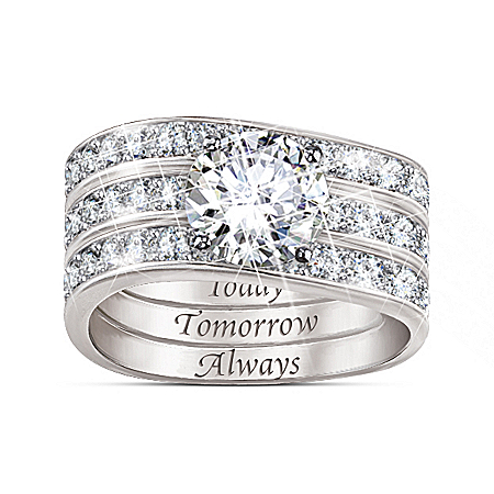 Message Of Love Diamonesk Sterling Silver Ring