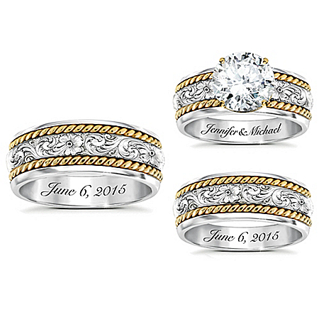 Western Romance His & Hers Personalized Sterling Silver Wedding Ring Set