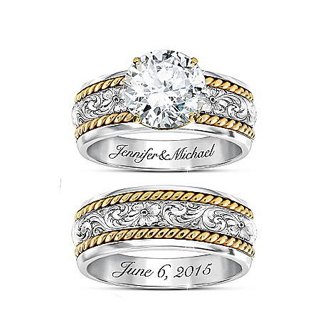 Western Romance Personalized Women's Bridal Ring Set