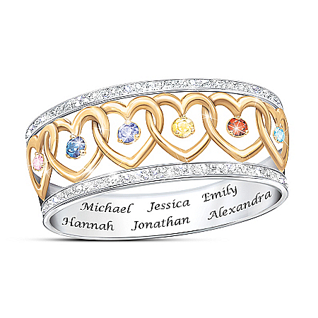 Family Love Personalized Birthstone Ring