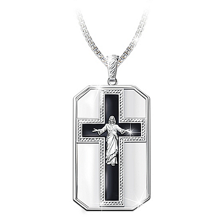 My Grandson, All Things Are Possible Religious Dog Tag Pendant Necklace