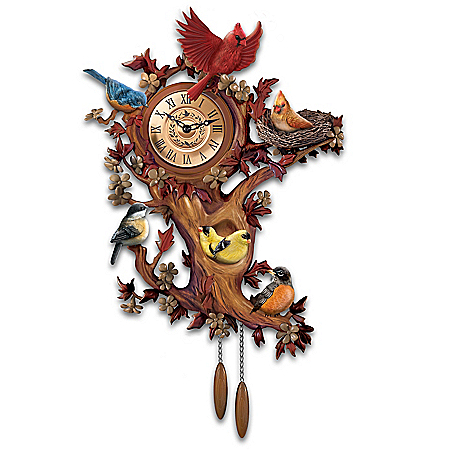 The Bradford Exchange Online - Treetop Chorus Songbird Sculptural Wall Clock Photo