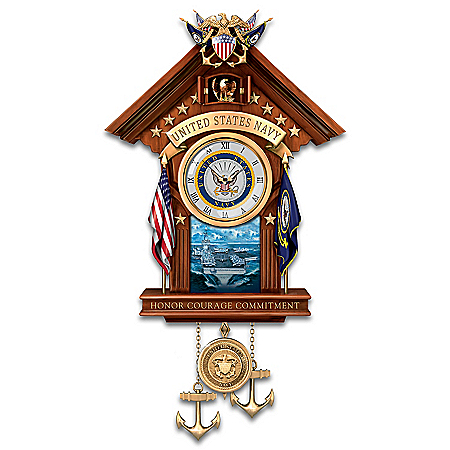 United States Navy Mahogany-Finished Wood Toned Cuckoo Clock