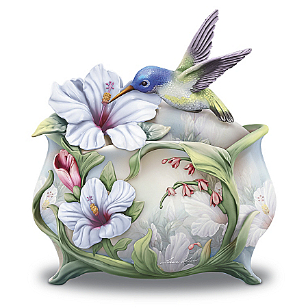 Image of Believe Hibiscus and Hummingbird Music Box