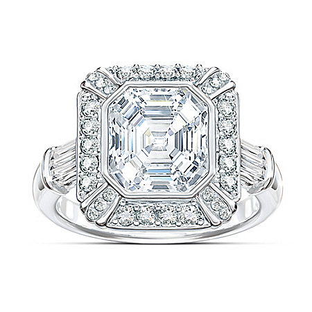 Women's Regal Elegance Celebrity Sterling Silver Diamonesk Ring