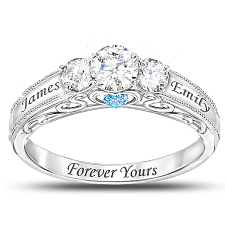 Forever Yours Personalized Birthstone Women's Ring – Personalized Jewelry