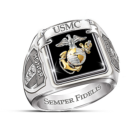 Military Honor & Courage USMC Men's Ring