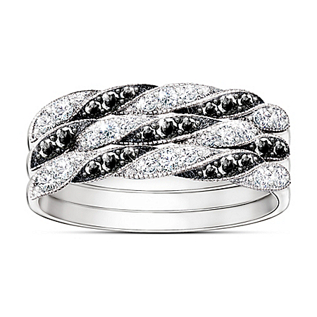 Day To Night Black And White Diamond Stacking Ring