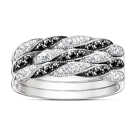 Day To Night Black And White Diamond Stacking Ring