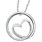 Forever In My Heart Sterling Silver Diamond Pendant Necklace