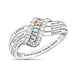 Sterling Silver Forever Family Personalized Birthstone Ring