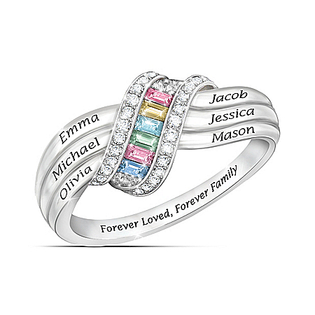 Sterling Silver Forever Family Personalized Birthstone Ring – Personalized Jewelry