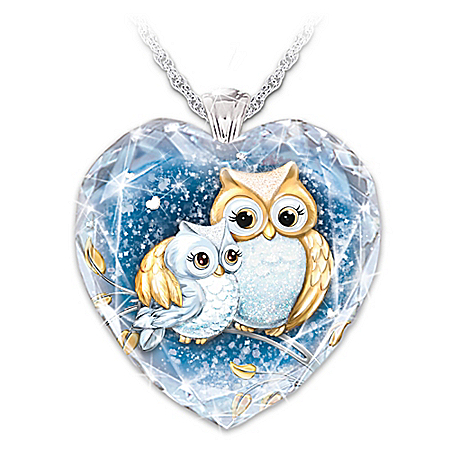 Granddaughter Owl Always Love You Personalized Crystal Heart Pendant Necklace