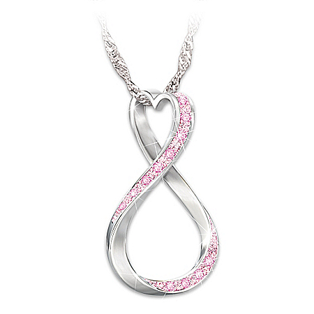 Forever Hope Breast Cancer Awareness Sterling Silver Pendant Necklace