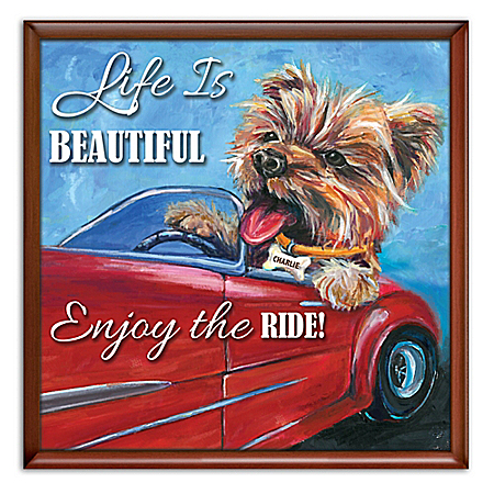Enjoy The Ride Personalized Yorkie Framed Canvas Wall Decor