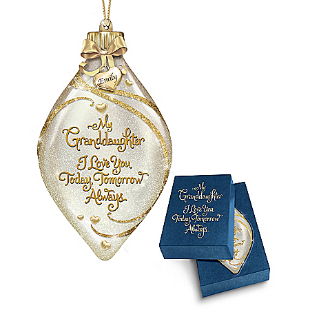 Light Up Glass Christmas Ornament for Granddaughter with Personalized Charm
