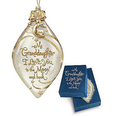 Granddaughter, I Love You To The Moon And Back Personalized Ornament Cream And Gold