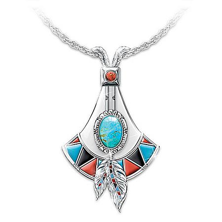 Genuine Turquoise Sacred Stone Pendant Necklace